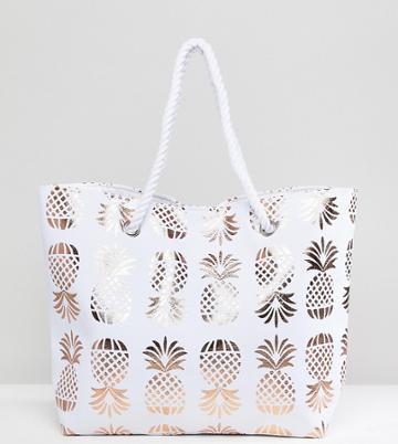 South Beach Rose Gold Pineapple Print Beach Bag - Gold