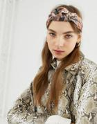 Asos Design Headband With Knot Front In Snake Print - Multi