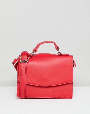 Pieces Bright Structured Cross Body - Red