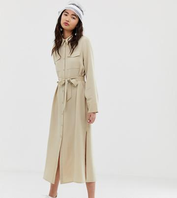 Monki Utility Midi Shirt Dress In Beige - Navy