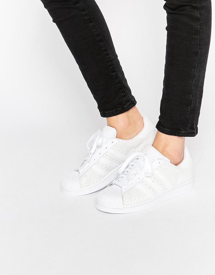 Adidas Orginals White Leather Snake Effect Superstar Sneakers - White