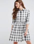 Asos Gingham Smock Shirt Dress - Multi