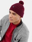 Ted Baker Multhat Bobble Beanie With Multi Stitch - Red