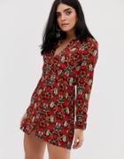 Ax Paris Printed Shirt Dress - Red