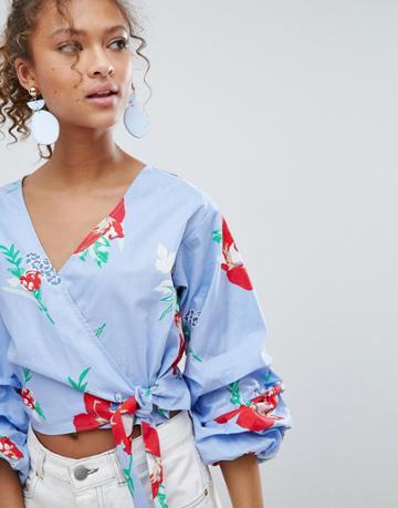 Miss Selfridge Floral Print Puff Sleeve Wrap Blouse - Blue