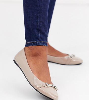 Asos Design Wide Fit Layla Snaffle Ballet Flats In Beige