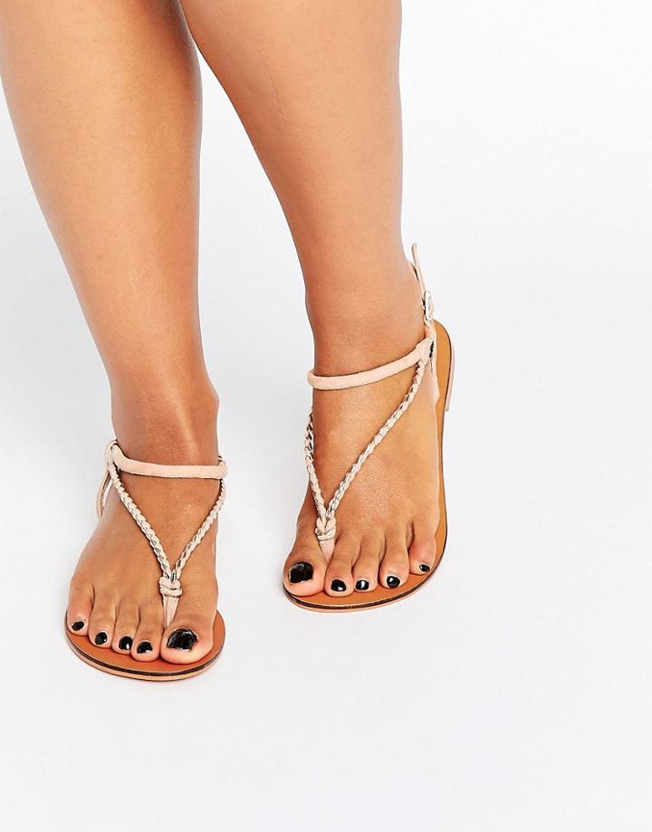 Asos Fixation Suede Plaited Flat Sandals - Pink