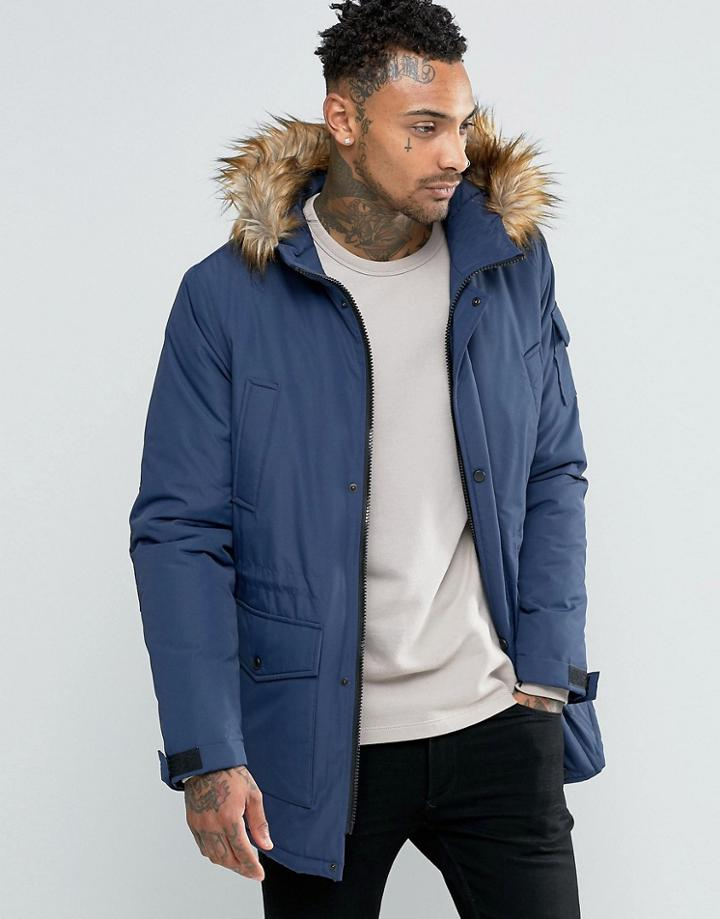 Asos Parka Jacket With Faux Fur Trim In Navy - Navy