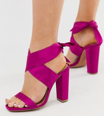 Asos Design Wide Fit Wilderness Tie Leg Block Heeled Sandals In Fuschia - Pink