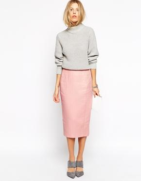 Asos Pencil Skirt In Texture - Blush
