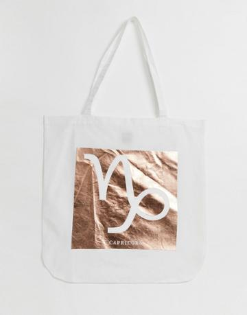 Asos Design Large Cotton Shopper In Personalized Star Sign Print-cream