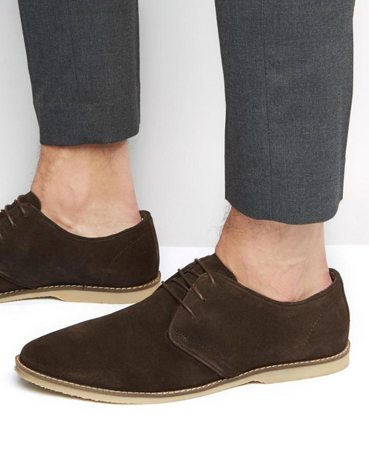 Asos Derby Shoes In Brown Suede With Piped Edging - Brown
