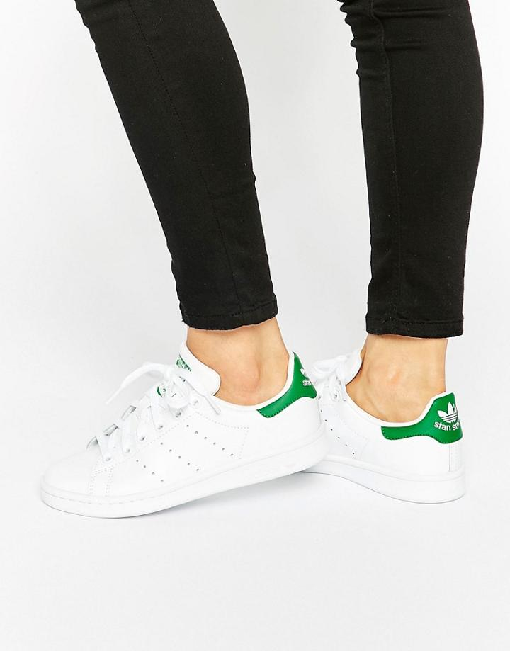 Adidas Originals White And Green Stan Smith Sneakers - White