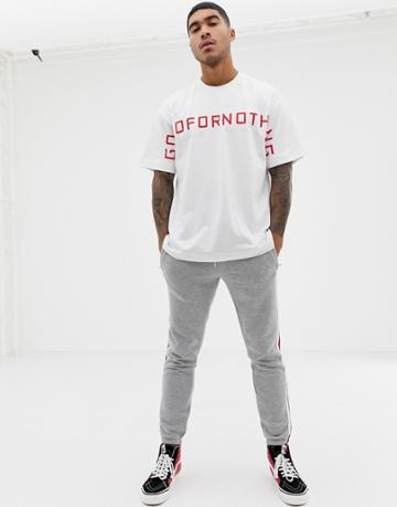 Good For Nothing Oversized T-shirt With Large Logo In White - White