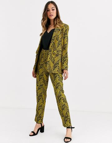 Liquorish Suit Pants Two-piece In Gold And Black Abstract Print - Multi