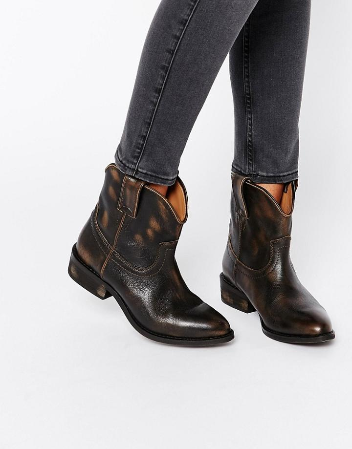 Mango Leather Western Ankle Boot - Brown