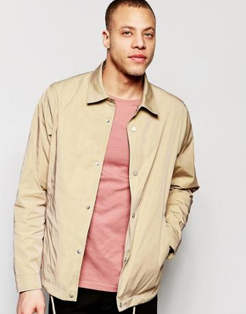 Asos Coach Jacket With Contrast Lining In Stone - Stone