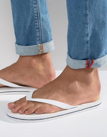 Asos Flip Flops In White - White