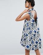 Asos Spot Jacquard Aline Mini Dress - Multi