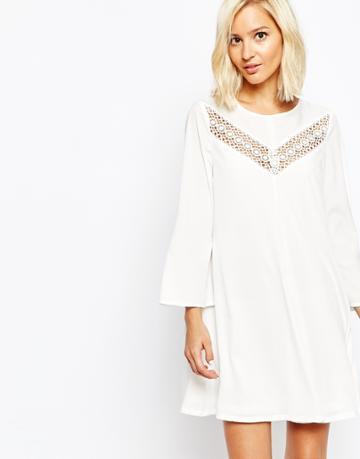 Vero Moda Lace Insert Smock Dress - Snow White