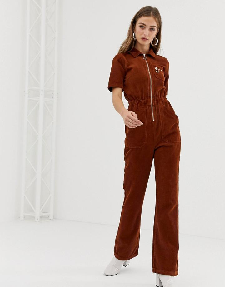 Asos Design Cord 70s Boilersuit With Flare In Chocolate - Brown