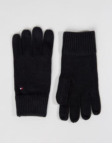 Tommy Hilfiger Cashmere Mix Gloves In Black - Black