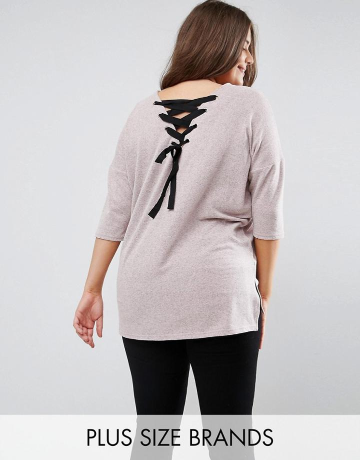New Look Plus Lattice Back Top - Pink