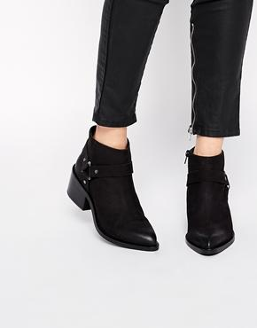 Asos Rapid Leather Stirrup Weave Ankle Boots - Black