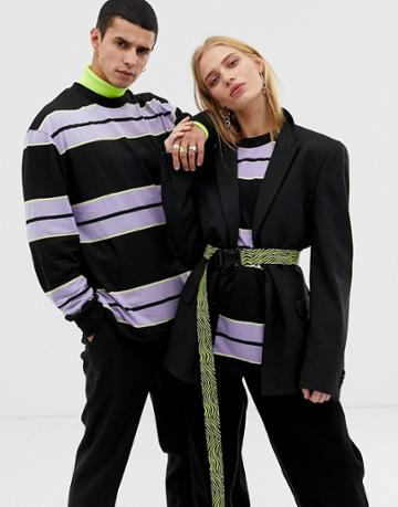 Collusion Unisex Long Sleeve T-shirt In Multi Stripe - Multi