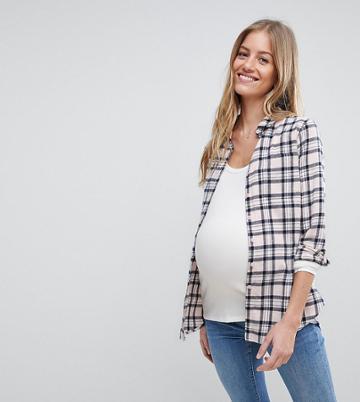 Asos Maternity Shirt In Blush Check - Multi