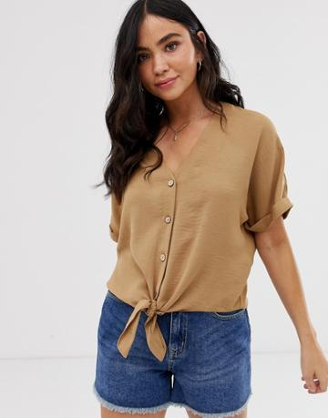 New Look Button Down Tie Front Blouse In Camel - Tan
