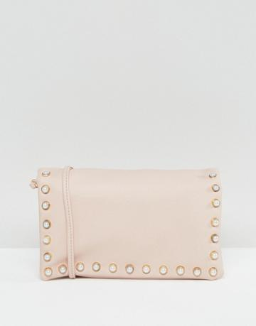 New Look Leather Look Pearl Cross Body Bag - Beige