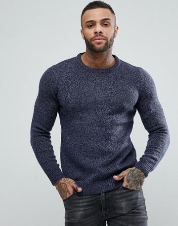 Pull & Bear Knitted Sweater In Blue Marl - Blue