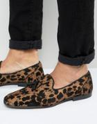Asos Loafers In Leopard Print - Gold