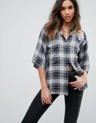 Diesel Check Shirt With Denim Collar And Embroidery - Multi
