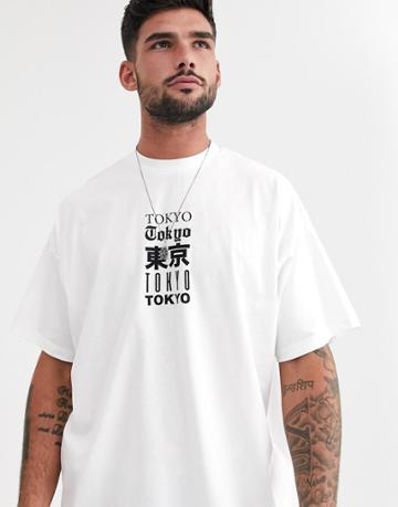 Asos Design Oversized T-shirt With Multiple City Text Print