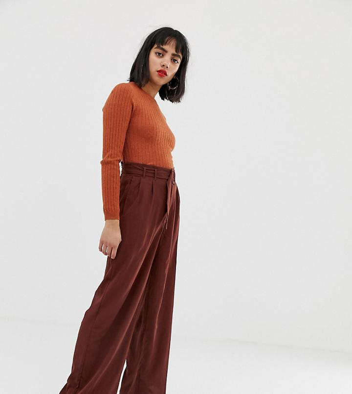 Vero Moda Petite Belted High Waist Wideleg Pants - Brown