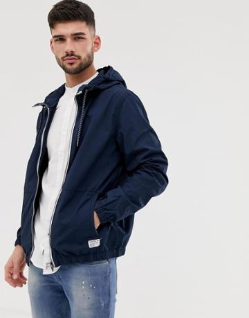 Bershka Join Life Windbreaker Jacket With Hood In Navy - Navy