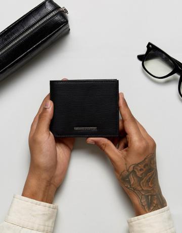 Heart & Dagger Textured Wallet - Black