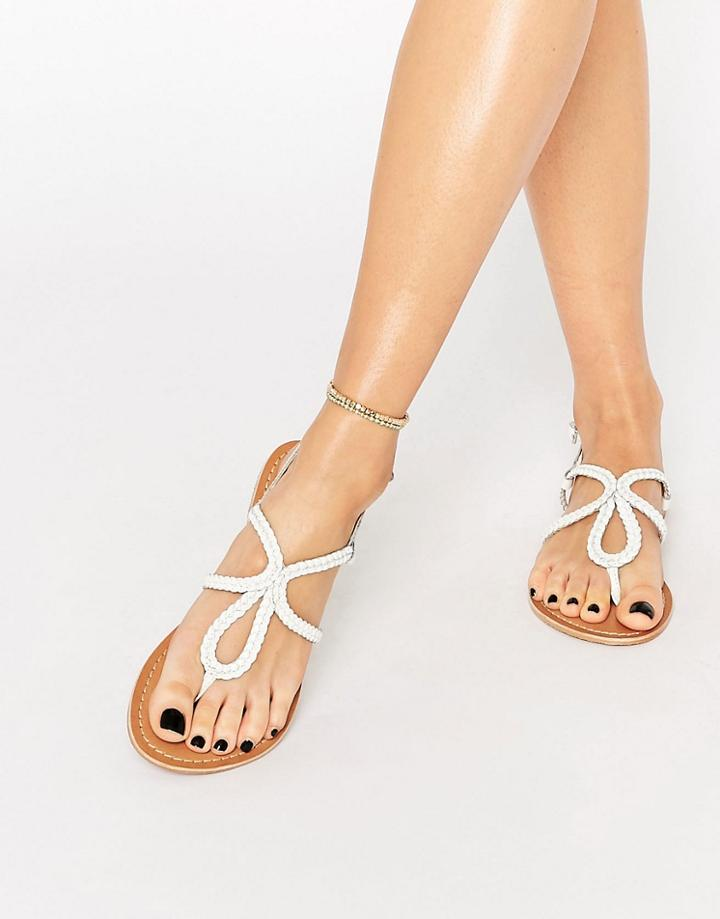 Asos Fallow Leather Plaited Flat Sandals - White