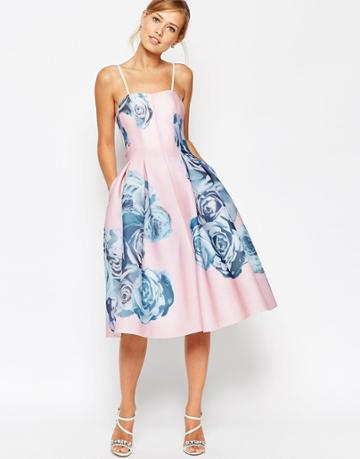 Asos Salon Rose Printed Mesh Bandeau Dress - Multi