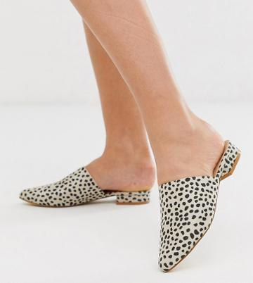Truffle Collection Wide Fit Flat Pointed Mules In Leopard