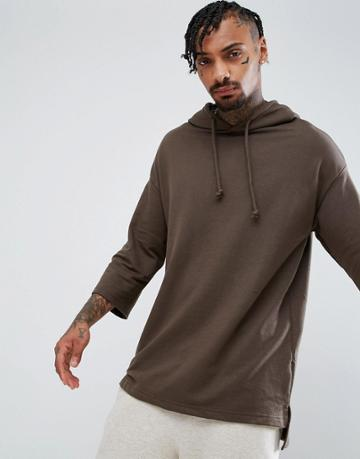 Bershka Hooded Sweatshirt With 3/4 Sleeve In Khaki - Green