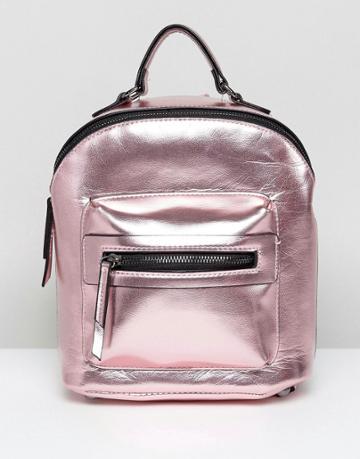 New Look Mini Metallic Backpack - Pink