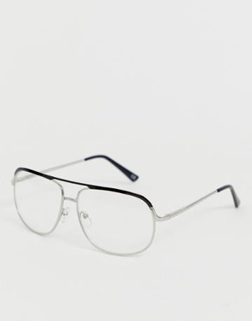 Asos Design Navigator Glasses With Silver Frame With Clear Lenses - Silver