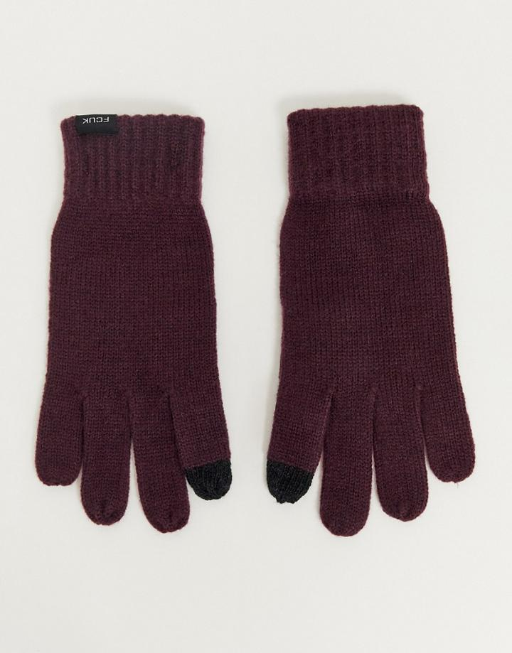 French Connection Touch Screen Gloves-red