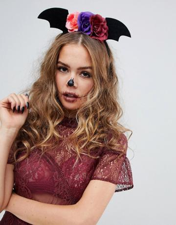 Asos Design Halloween Headband With Floral And Batwing Detail In Black - Black