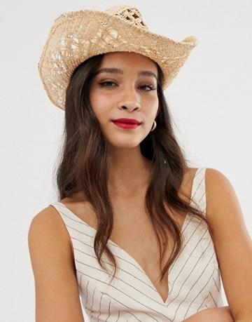 Asos Design Straw Cowboy Hat With Trim - Brown