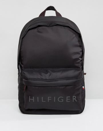 Tommy Hilfiger Light Nylon Logo Backpack In Black - Black