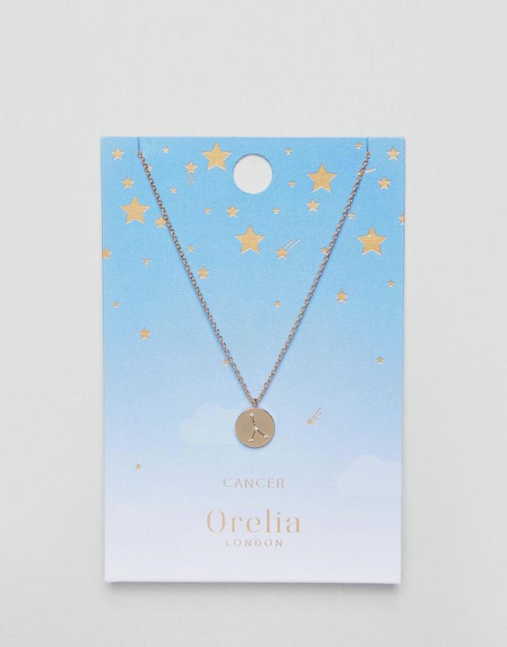 Orelia Cancer Constellation Disc Pendant - Gold